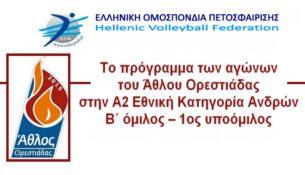 Το πρόγραμμα των αγώνων της Α2 Εθνικής Κατηγορίας Ανδρών
